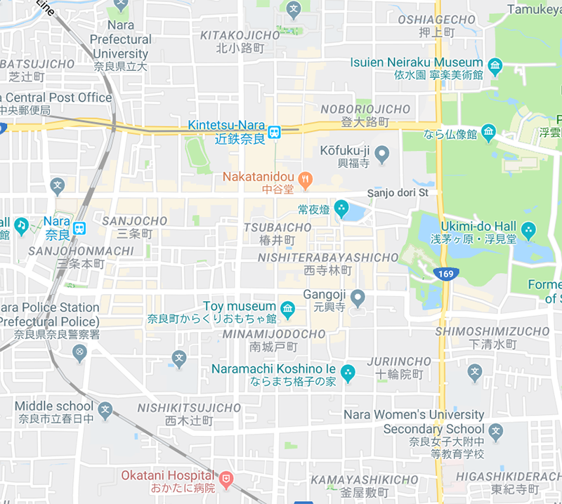 図10 英語表示でのグーグルマップ(奈良駅周辺)