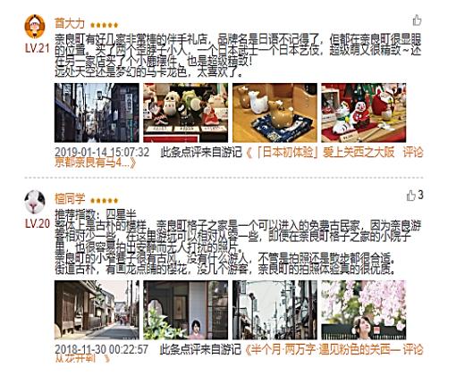 【図24 蚂蜂窝における 奈良町の評価レビュー投稿例】